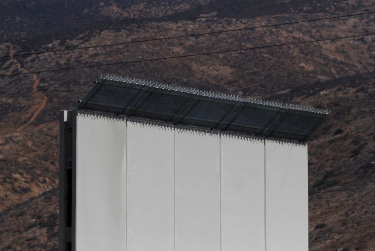 A prototype for U.S. President Donald Trump's border wall with Mexico is seen in this picture taken from the Mexican side of the border in Tijuana