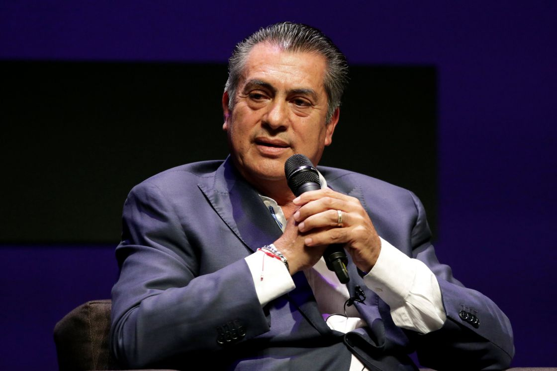 Independent presidential candidate Jaime Rodriguez Calderon speaks during a meeting with students of the ITESM in Monterrey