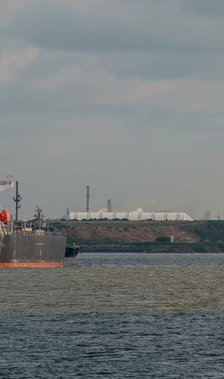 A Bright Fortune crude oil tanker is seen floating near Pemex